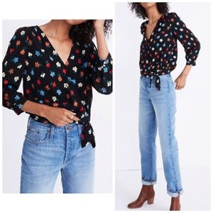 Madewell Wrap Top in Pressed Flowers, SIze XXS